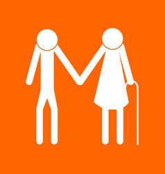 elder people stick white icon vector image vector image