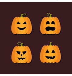 Four Halloween flat icons vector image