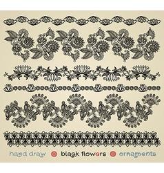 hand draw black flower ornament vector image