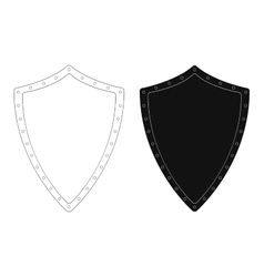 Medieval knight shield with rivets Contour vector image vector image