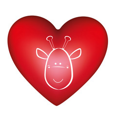 red heart shape with silhouette face cute giraffe vector image