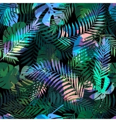 Seamless tropical pattern with palm leaves for vector image