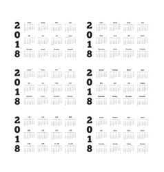 Set of 2018 year simple calendars on different vector image