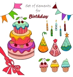 Set of elements for birthday vector image vector image