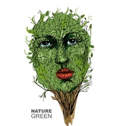 The image of nature Face in the branches Spring vector image