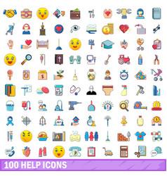 100 help icons set cartoon style vector