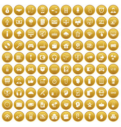 100 programmer icons set gold vector image