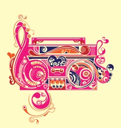 abstract radio tape decorative elements vector image
