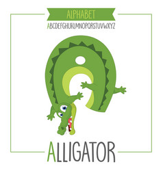 alphabet letter a and alligator vector image