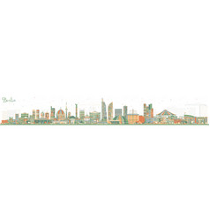 Berlin germany city skyline with color buildings vector
