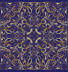 blue handkerchief with gold ornament vector image
