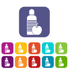 Bottle of water and apple icons set vector