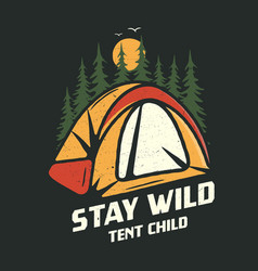 Camping graphic for t-shirt prints vintage hand vector
