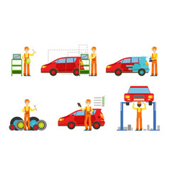 Car service set male auto mechanics in uniform vector
