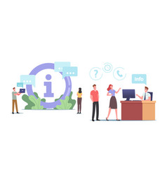 Characters use info desk service people need vector