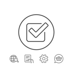 Check line icon approved tick sign vector