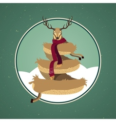 Christmas card design with reindeer tree vector