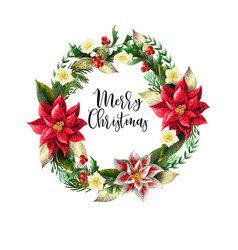 christmas wreath with slogan golden elements vector image
