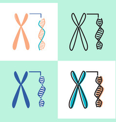Chromosome and dna spiral icon set in flat and vector