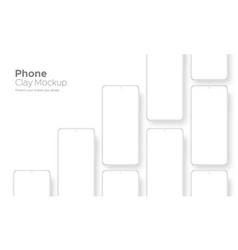 Clay frameless phone mockup isolated vector