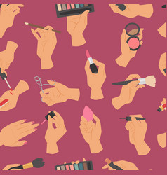 collection of makeup cosmetics and brushes in vector image