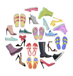 Collection of shoes in round frame banner isolated vector