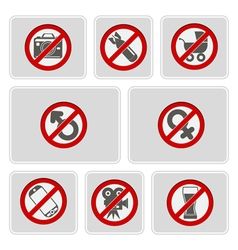 color icons with prohibiting signs vector image