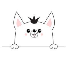 Corgi dog happy face head icon hands paw holding vector