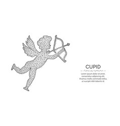 Cupid with bow and arrow low poly design angel vector