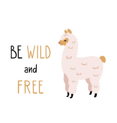 cute alpaca with funny lettering vector image