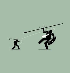 David versus goliath artwork depicts underdog wins vector