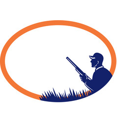 Duck hunter shotgun oval retro vector