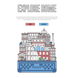 Explore rome poster with open suitcase vector