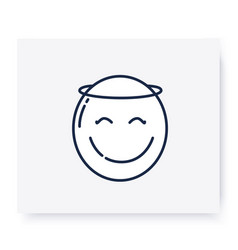 Face with halo line icon editable vector