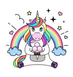 fantasy animal horse unicorn with ice cream vector image