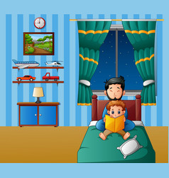 Father and his son reading a book in bed at night vector