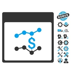 Financial Charts Calendar Page Icon With vector
