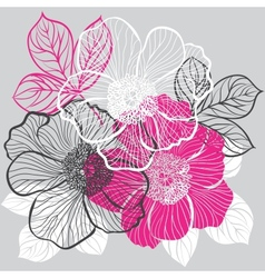 Floral background with flowers peony vector