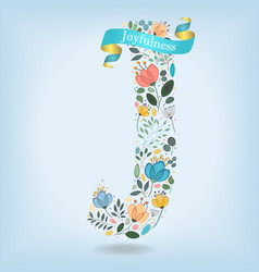 Floral letter j with blue ribbon vector