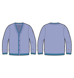 front and back view of a knitted cardigan vector image
