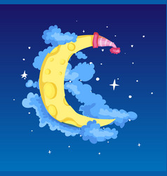 fun cartoon yellow crescent moon with cap among vector image