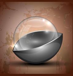 Glass half-gray colored ball vector