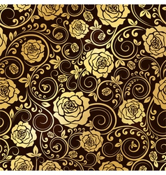 Golden ornament of roses vector image