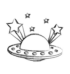 grunge ufo universe object and shoothing stars vector image