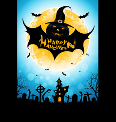 halloween background with bat monster vector image