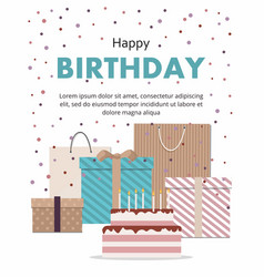 Happy birthday card with gifts isolated on white vector
