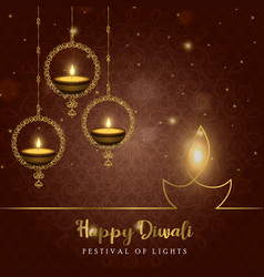 happy diwali diya candle card for hindu festival vector image