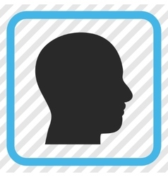 Head Profile Icon In a Frame vector image
