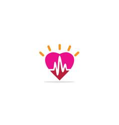 Heart love shine pulse logo vector