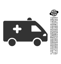 Hospital car icon with work bonus vector